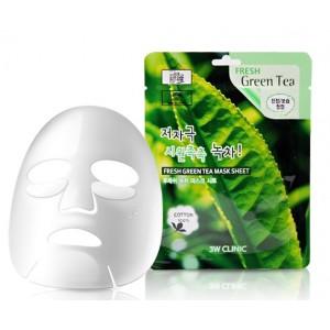 Тканевая маска с экстрактом зеленого чая 3W Clinic Fresh Green Tea Mask Sheet