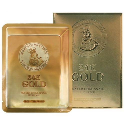 Маска с золотом и муцином улитки Elizavecca Gold Water Dual Snail Mask Pack