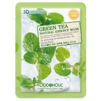 Тканевая маска для лица с экстрактом зелёного чая Foodaholic Natural Essence Mask Green Tea