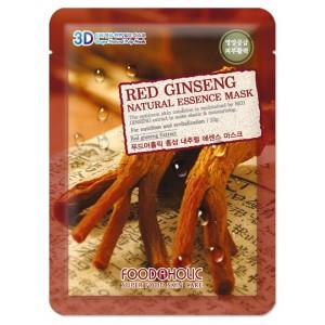 Тканевая маска для лица с экстрактом красного женьшеня Foodaholic Natural Essence Mask Red Ginseng