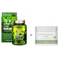 Сыворотка ампульная с экстрактом семян зеленого чая 250 мл + Крем для лица с коллагеном и зеленым чаем