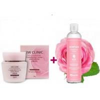 Крем для лица увлажняющий цветочный + Тонер для лица с экстрактом розы