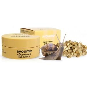 Патчи с золотом и улиточным муцином Ayoume Gold Snail Eye Patch