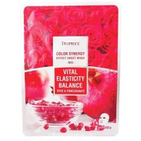Маска тканевая с экстрактом граната и лепестков роз Deoproce Color Synergy Effect Sheet Mask Red