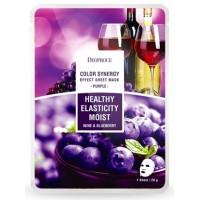 Маска тканевая на основе черники и красного винограда Deoproce Sheet Mask Purple